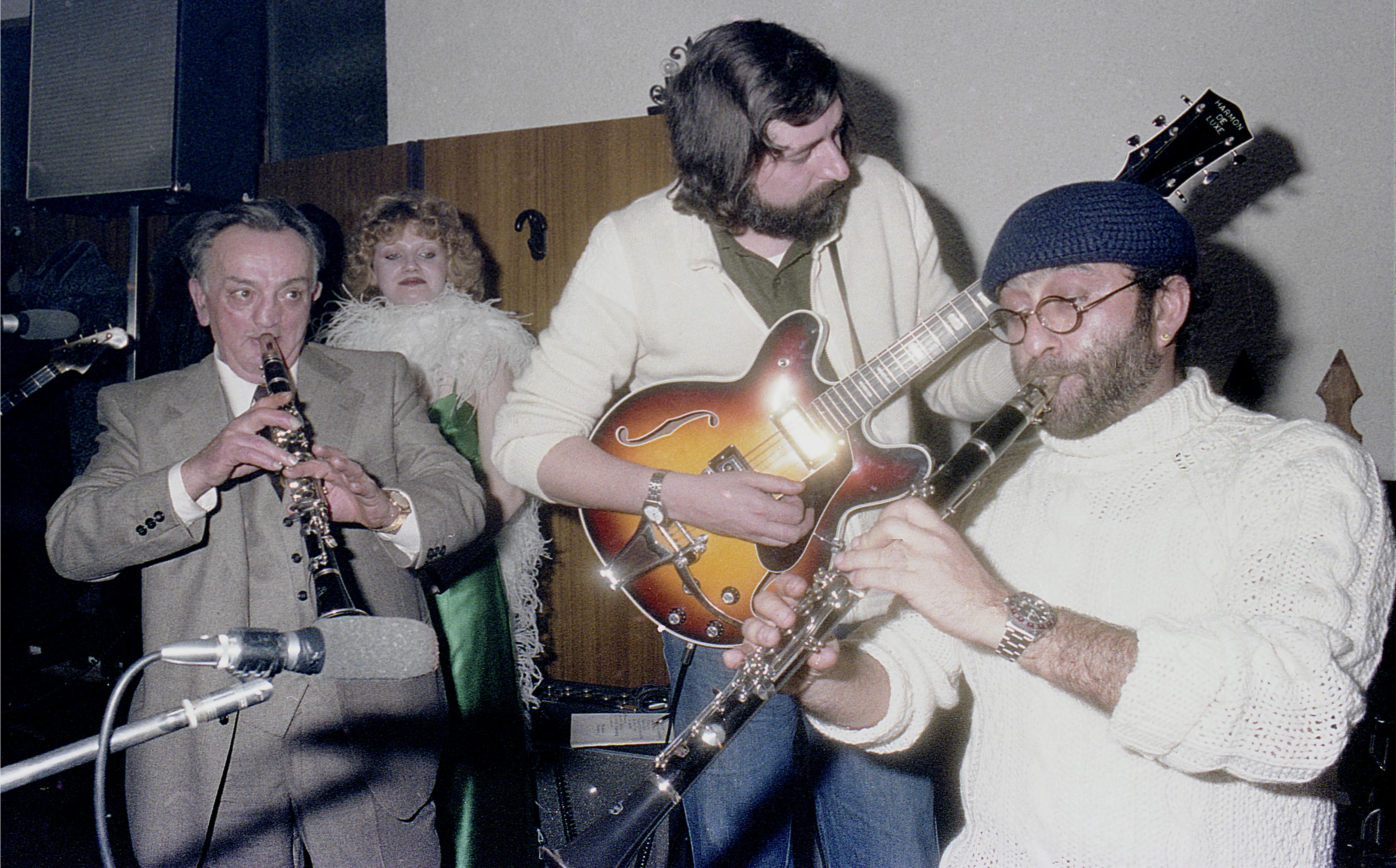 Historical shot at Vito's:from left Mister Vito, Guccini and Dalla